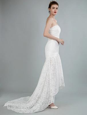 Einfache Brautkleider trägerlose ärmellose Spitze Meerjungfrau Brautkleider mit Zug_5