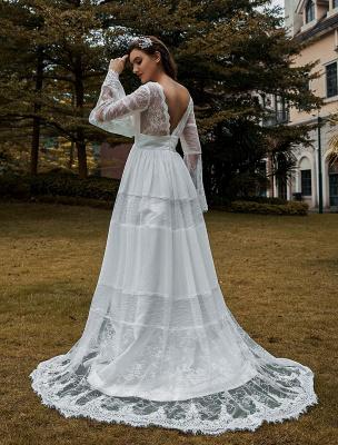 Brautkleider Boho Brautkleid mit langen Ärmeln Spitze V-Ausschnitt Spitze Chiffon Brautkleider Exklusiv_3