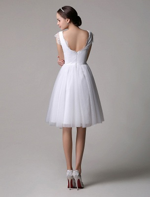 Simple Wedding Dresses Tulle Scoop Neck Knee Length Short Bridal Dress With Lace Cap Sleeves_7