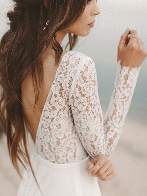 Einfache Hochzeitskleid A-Linie V-Ausschnitt Langarm Bodenlangen Chiffon Spitze Brautkleider_5