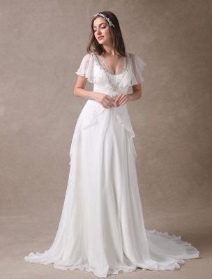 Glamorous Court Schleppe Elfenbein Brautkleid mit Perlenstickerei V-Ausschnitt Exklusiv_2