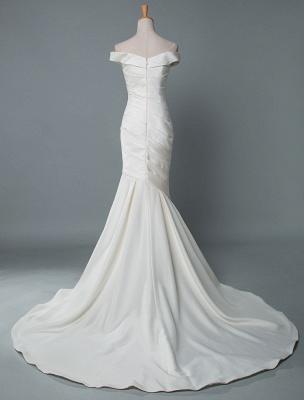 Vintage Brautkleid Meerjungfrau Schulterfrei Ärmellos Plissee Satin Stoff Mit Zug Traditionelle Kleider Für Die Braut_2