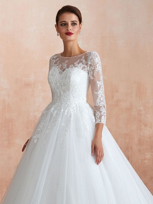 Wedding Gown 2021 3/4 Sleeve Jewel Neck Lace Appliqued Beaded Ball Gown Bridal Wedding Dress With Train_8