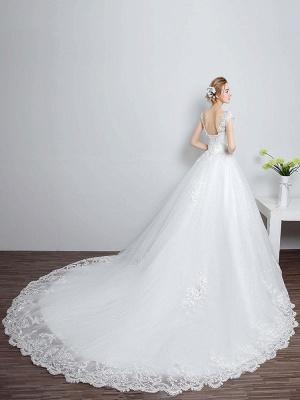 Prinzessin Brautkleider Elfenbein Backless Brautkleid Spitze Applique V-Ausschnitt Langer Zug Brautkleid_4