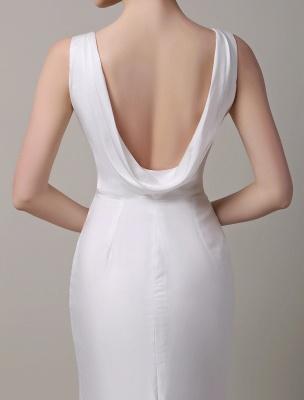Elfenbeinfarbener Satin mit tiefem V-Ausschnitt und Wasserfallausschnitt mit verzierter Schärpe Hochzeitskleid_6