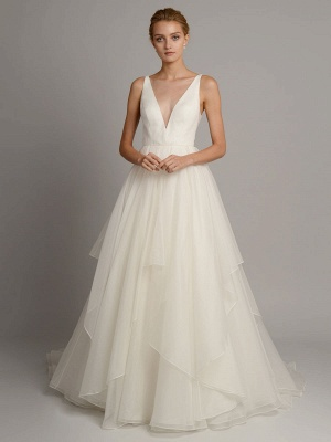 White A-Line Wedding Dresses With Train Sleeveless Backless Natural Waist Tiered V-Neck Long Bridal Dresses_1