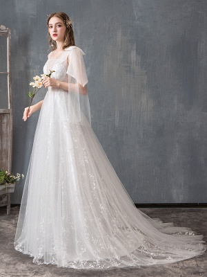 Summer Wedding Dresses 2021 Boho Beach A Line Bridal Dress Lace Applique Tulle Bridal Gown With Train_3