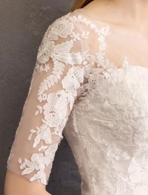 Vestidos de novia de encaje Marfil Escote de ilusión La mitad de manga Hasta el suelo Vestido de novia de princesa_10