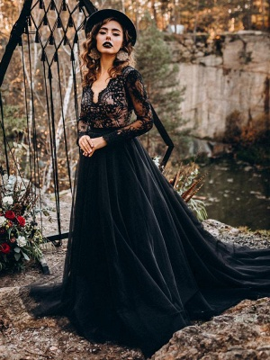 Black Wedding Dresses A-Line Designed Neckline Long Sleeves Natural Waistline Tulle Lace Sweep Bridal Gown_5