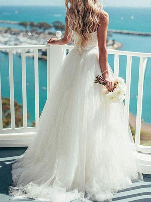Brautkleid 2021 Ballkleid Herzausschnitt Ärmellos Natürliche Taille Schärpe Tüll Brautkleider Mit Zug_3