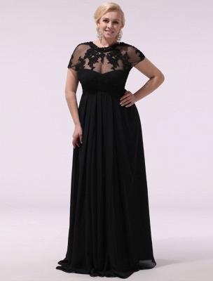Black Prom Dresses Plus Size Evening Dress Chiffon Lace Applique Illusion Short Sleeves Floor Length Wedding Guest Dress Exclusive_1