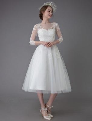 Vintage Wedding Dresses Tulle Bateau 3/4 Length Sleeve A Line Bridal Gown Short Bridal Dress Exclusive_7
