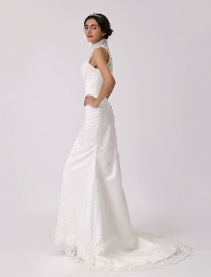 Vintage Inspired Illusion Neck Sheath/Column Wedding Dress With Lace Overlay Exclusive_4
