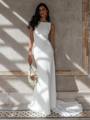 Vestido de novia blanco simple con tren Bateau Cuello sin mangas Sin espalda Tela de satén Sirena Vestidos de novia_3