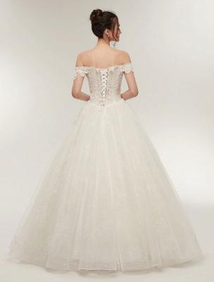 Princess Wedding Dresses Off The Shoulder Ivory Bridal Dresses Lace Applique Tulle Floor Length Ball Gowns_6