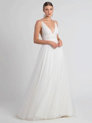 White Wedding Dress V-Neck Sleeveless With Train Natural Waist Backless Long Bridal Dresses_4