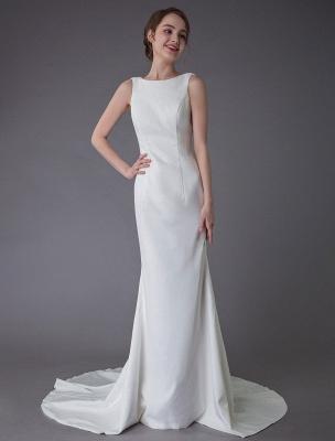 Brautkleider Elfenbein Mantel Einfaches Brautkleid mit Wasserfallausschnitt Strandhochzeitskleider mit Zug Exklusiv_3