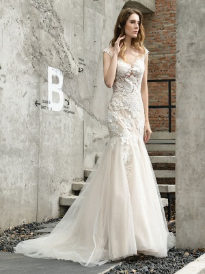 Wedding Dress Jewel Neck Sleeveless Natural Waist Lace Bridal Mermaid Dress With Train_3