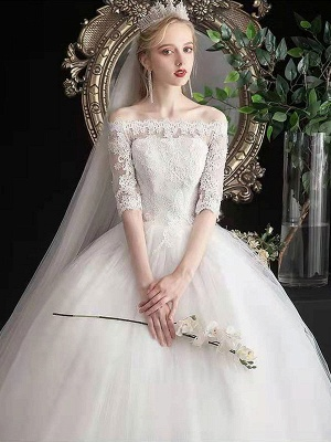 Stylish Wedding Dresses Eric White Off The Shoulder Half Sleeves Ball Gown Soft Tulle Lace Up Floor Length Bride Dresses_5