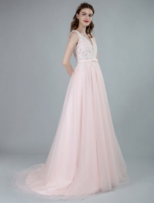 Wedding Dresses A Line Sleeveless Bows V Neck Bridal Dresses With Court Train Exclusive_3
