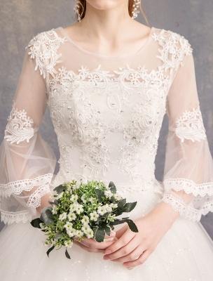 Ballkleid Brautkleider Tüll Juwel 3/4 Ärmel bodenlangen Prinzessin Brautkleid_8