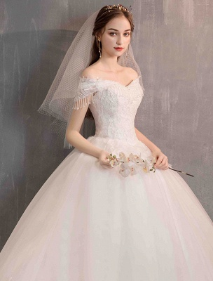 Tüll Brautkleider Prinzessin Brautkleid Schulterfrei Spitze Applique Bodenlangen Ballkleid Brautkleid_9