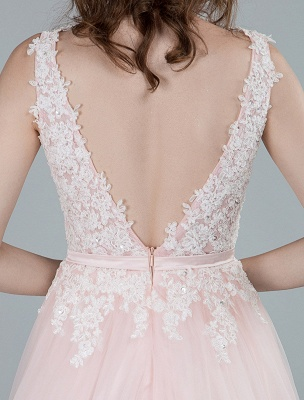 Wedding Dresses A Line Sleeveless Bows V Neck Bridal Dresses With Court Train Exclusive_2