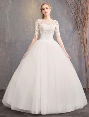 Vestidos de novia de encaje Marfil Escote de ilusión La mitad de manga Hasta el suelo Vestido de novia de princesa_2