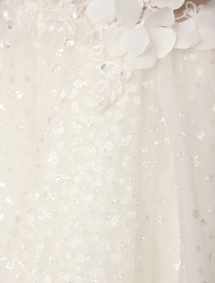 Ivory Backless Lace Applique Tulle Sequins Wedding Dress Exclusive_10