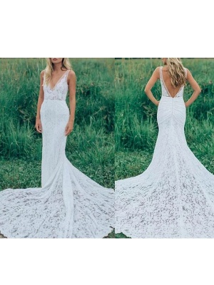 Boho Wedding Dresses Mermaid V Neck Sleeveless Lace Beach Bridal Dress With Train_2