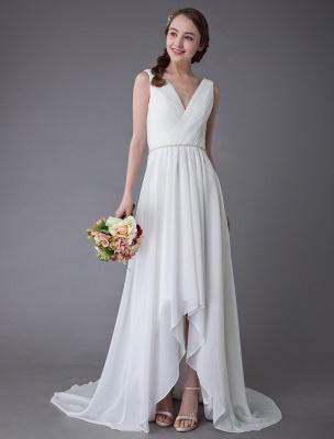 Beach Wedding Dresses Chiffon V Neck High Low Sash Summer Bridal Dress Exclusive_1