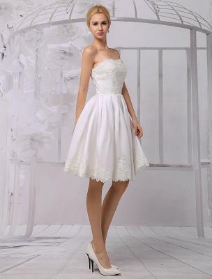 Knielanges Brautkleid aus Satin und Spitze mit Spitze, Langarm-Wrap Exklusiv_3