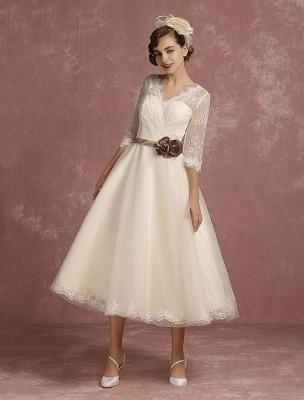 Vintage Brautkleid Kurze Spitze Tüll Brautkleid Halbarm V-Ausschnitt Backless A-Linie Blume Schärpe Tee Länge Brautkleid Exklusiv_5