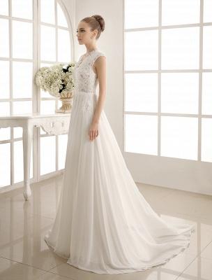 Wedding Dresses Chiffon V Neck Beach Bridal Dress Pearls Beaded Lace Ivory Bridal Gown_3