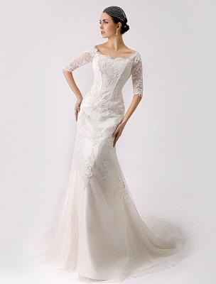 2021 Vintage inspiré de l'épaule robe de mariée en dentelle sirène exclusive_1