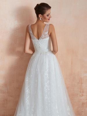 Wedding Dress 2021 A Line V Neck Sleeveless Floor Length Bridal Gowns With Train_10
