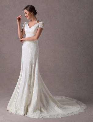 Lace Wedding Dresses Ivory V Neck Short Sleeve A Line Straps Bridal Gowns With Train Exclusive_5
