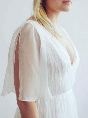 Simple Wedding Dress V Neck Half Sleeves Pleated A Line Floor Length Bridal Dresses_8