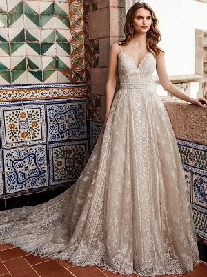 Wedding Gowns With Train V Neck Sleeveless Spaghetti Straps Lace Bridal Dresses_1