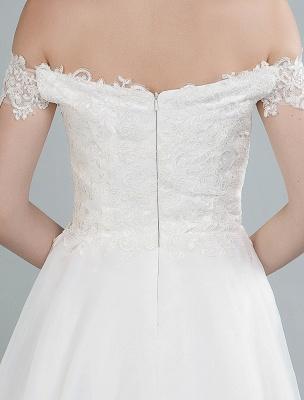 Einfaches Brautkleid A Line Off The Shoulder Ärmellose Spitze Brautkleider Mit Zug Exklusiv_7