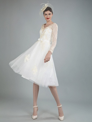 Short Wedding Dress Tulle Knee Length V Neck Long Sleeves A Line Natural Waist Bridal Gowns Exclusive_5