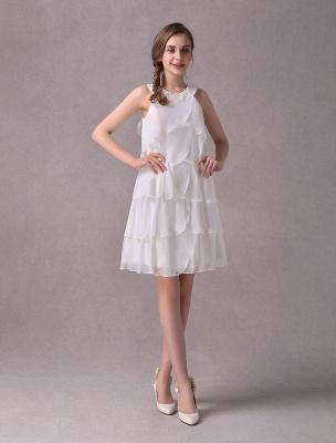 Einfache Brautkleider Elfenbein Chiffon Cocktailpartykleid Perlen Tiered A Line Halfter Kurzes Brautkleid Exklusiv_2