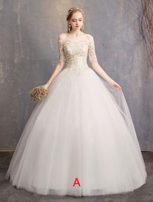 Tulle Wedding Dress Off The Shoulder Half Sleeve Princess Bridal Gown_1