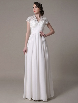 Sheath Wedding Dress V-Neck Lace Chiffon Pleated Floor Length Bridal Dress Exclusive_4