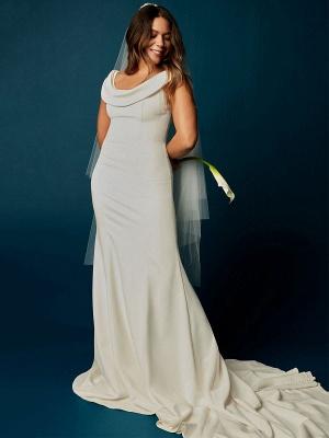 Weiße Meerjungfrau Brautkleider mit Kapelle-Schleppe Stretch-Krepp Ärmellos Off-Shoulder-Knöpfe Natürliche Taille Rückenfreie Brautkleider_2