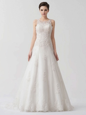 Sweep Ivory Lace Sweetheart A-Line Brides Wedding Dress With Adjustable Strap_1