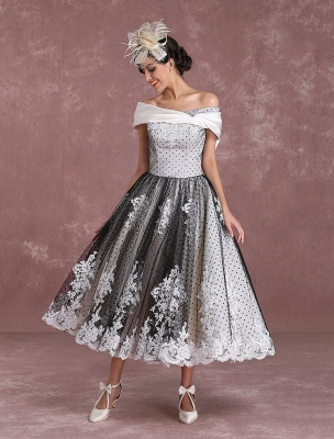 Black Wedding Dresses Vintage Short Bridal Gown Lace Off The Shoulder Polka Dot Print Bridal Dress With Bow At Back Exclusive_3