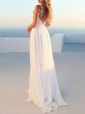 Robes de mariée simples 2021 A Line V Neck Straps Backless Floor Length Classic Robes de mariée_4