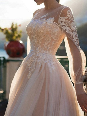 White Wedding Dresses A-Line Court Train Long Sleeves Single Thread Tulle Buttons Illusion Neckline Bridal Gowns_2