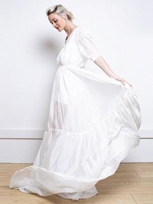 Weißes einfaches Hochzeitskleid A-Linie V-Ausschnitt Halbarm Rückenfrei Tüll Satin Stoff Lange Brautkleider_2